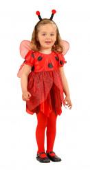 Hübsches Marienkäfer-Kostüm für Mädchen schwarz-rot