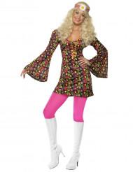 Hippie-Kostüm Sixties-Kleid für Damen bunt