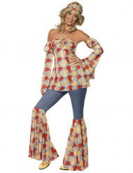 Hippie-Kostüm 70er Jahre für Damen bunt