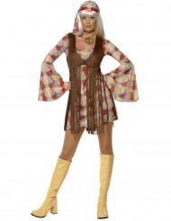 Hippie-Damenkostüm mit Bandana bunt