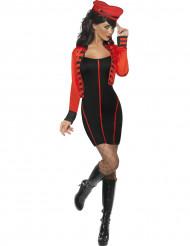 Sexy Militär-Kostüm für Damen schwarz-rot