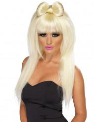 Filmstar Langhaar-Damenperücke mit Schleife und Pony blond