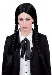 Langhaarperücke geflochten schwarz für Damen
