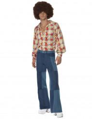 Disco-Hose für Herren Patchwork blau