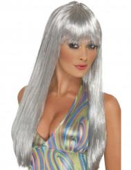Lange silberne Perücke für Damen