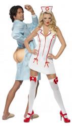 Krankenschwestern und Patienten-Paarkostüm für Erwachsene