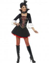 Sexy Vampir-Damenkostüm Halloween schwarz-weiß-rot