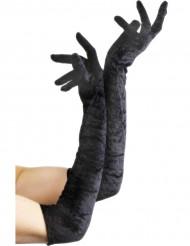 Lange, schwarze Halloweenhandschuhe