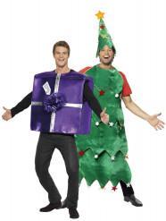 Weihnachtsbaum und Weihnachtsgeschenk-Paarkostüm
