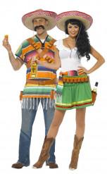 Mexikanisches Kellner-Paarkostüm für Erwachsene