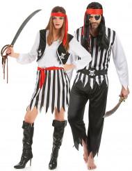 Piraten-Paarkostüm für Erwachsene schwarz-weiss-rot