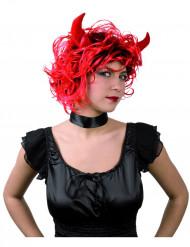 Teufelinnen-Perücke mit Hörnern Halloween