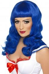 Blaue Langhaarperücke für Damen