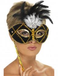 Schwarz-goldenen Halbmaske mit Federn