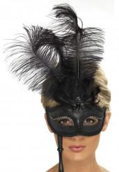 Halbmaske mit Federn für Erwachsene