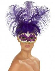 Pompöse venezianische Augenmaske lila-weiß-gold
