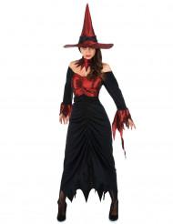 Halloween Hexen-Kostüm für Damen schwarz-rot