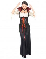 Eng anliegendes Vampirkleid für Damen schwarz-weiß-rot