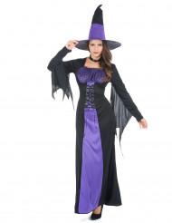 Damen-Hexenkostüm schwarz-violett