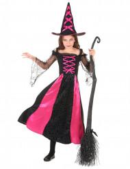 Hexen-Mädchenkostüm für Halloween schwarz-pink