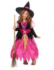 Mädchen-Hexenkostüm schwarz-pink-gelb