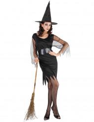 Damen-Hexenkostüm für Halloween schwarz