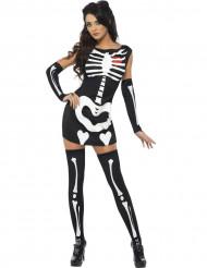 Sexy Damen-Skelettkostüm schwarz-weiss-rot