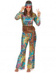 Damen-Hippiekostüm mit Haarband bunt