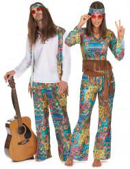 Schrilles Hippie-Kostüm für Paare bunt