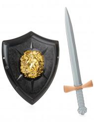 Ritter-Set Schild und Schwert für Kinder schwarz-gold-silberfarben