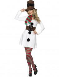 Schneemann-Kostüm für Damen Schneefrau-Kostüm weiss
