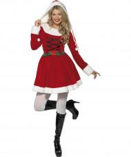 Weihnachtsfrau Kostüm für Damen mit Schnürung und Kapuze