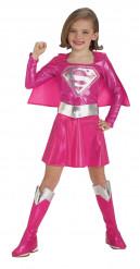 Glänzendes Supergirl™-Kostüm für Mädchen rosa-silberfarben