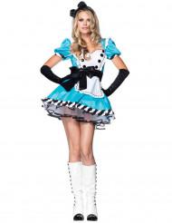 Alice im Wunderland Kostüm für Damen weiß-türkis-schwarz