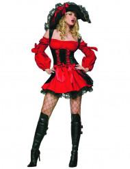Piratinnenkostüm mit Korsett für Damen schwarz-rot