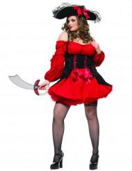 Sexy Piraten-Kostüm für Damen Übergröße schwarz-rot