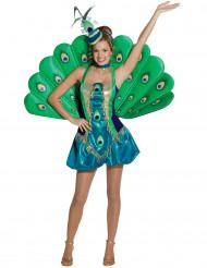 Pfau-Kostüm für Damen blau-grün-goldfarben