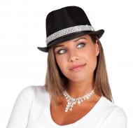 Hut schwarz mit Glitzersteinen