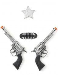Western Pistolen-Set Spielzeug für Fasching schwarz-silber