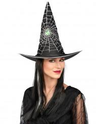 Hexen-Perücke Halloween schwarz-weiß für Damen mit Hut