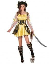 Piraten-Damenkostüm mit Korsett schwarz-gelb