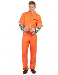Gefangenenkostüm für Herren Sträflings-Verkleidung orange