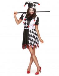 Harlekin-Damenkostüm schwarz-weiss-rot