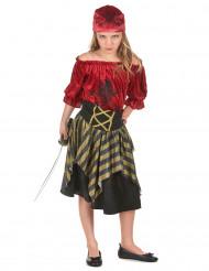 Piraten Kinderkostüm für Mädchen schwarz-rot-goldfarben