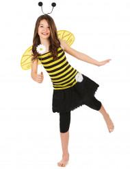 Gestreiftes Bienen-Kostüm für Mädchen mit Flügeln gelb-schwarz