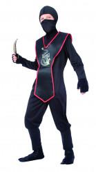 Ninja-Schattenkrieger-Kostüm für Kinder schwarz-rot-silberfarben