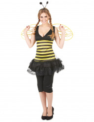 Kurzes Bienen-Kostüm für Damen mit Rüschenrock schwarz-gelb