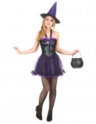 Hexen-Spinnen-Kostüm für Damen schwarz-violett