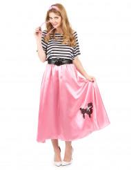 50er Jahre Kostüm für Damen wadenlang rosa-schwarz-weiß gestreift