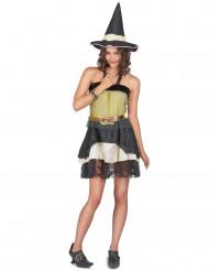 Hexen Halloween-Kostüm für Damen schwarz-gelb
